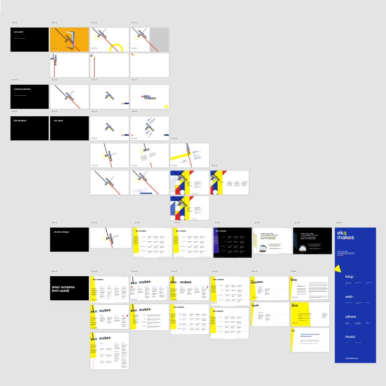 More than forty artboards of landing page design variations, some are almost similar, some others are vastly different