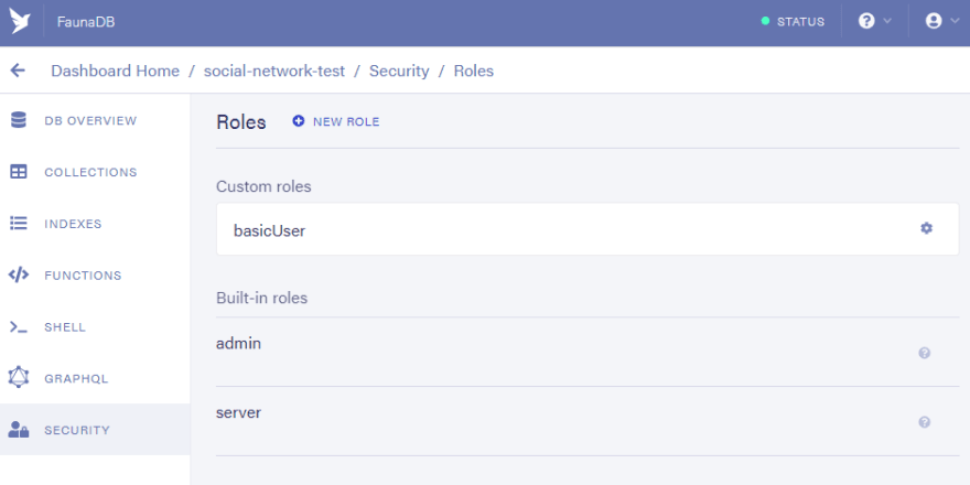 Dashboard: Head to security/ manage roles