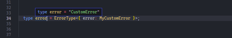 Screenshot for conditional types for error with additional error type