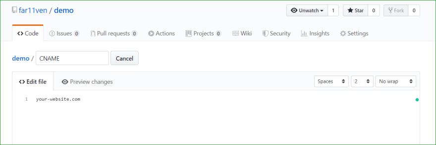 CNAME File content