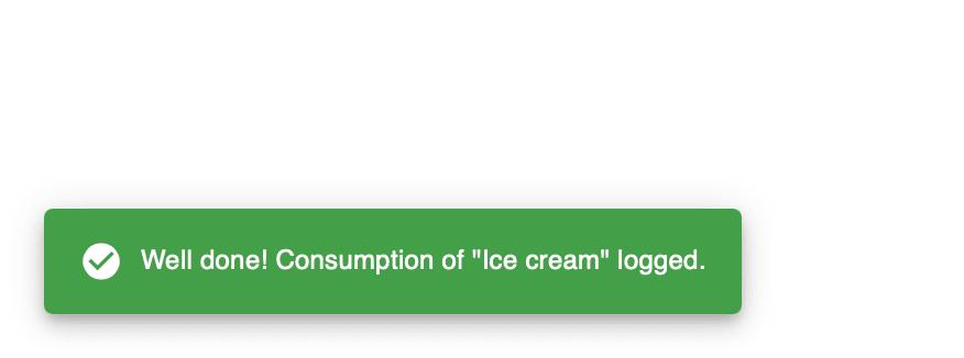 LifeKnifeX consumption logged toast