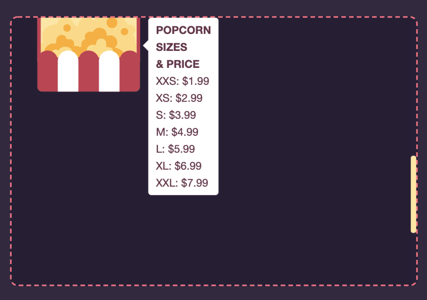 Tooltip positioned on the right of an SVG popcorn box, where it has been prevented from overflowing its container to stay visible for the user