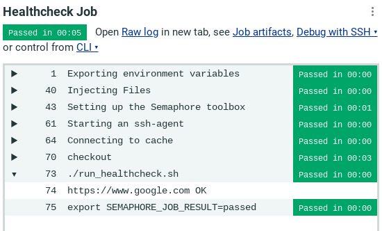 Healthcheck Job Log