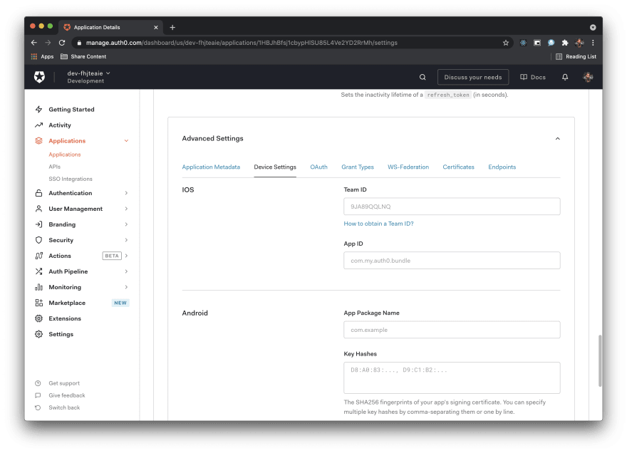 Image shows team id and app id fields in Auth0 dashboard