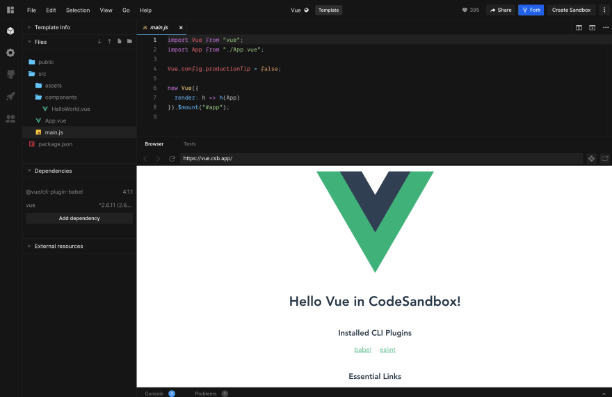 Easy Vue.js Search on codesandbox
