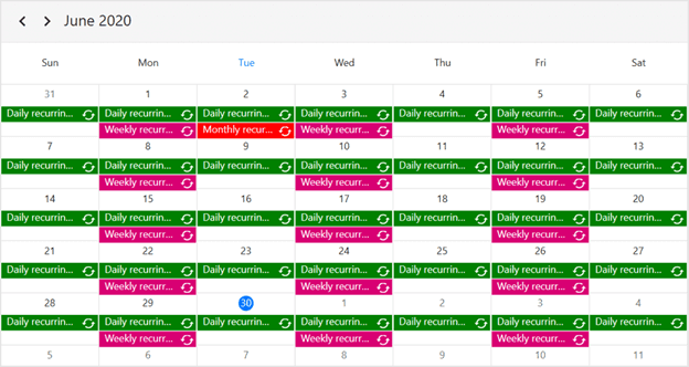 Recurrence Events in WPF Scheduler