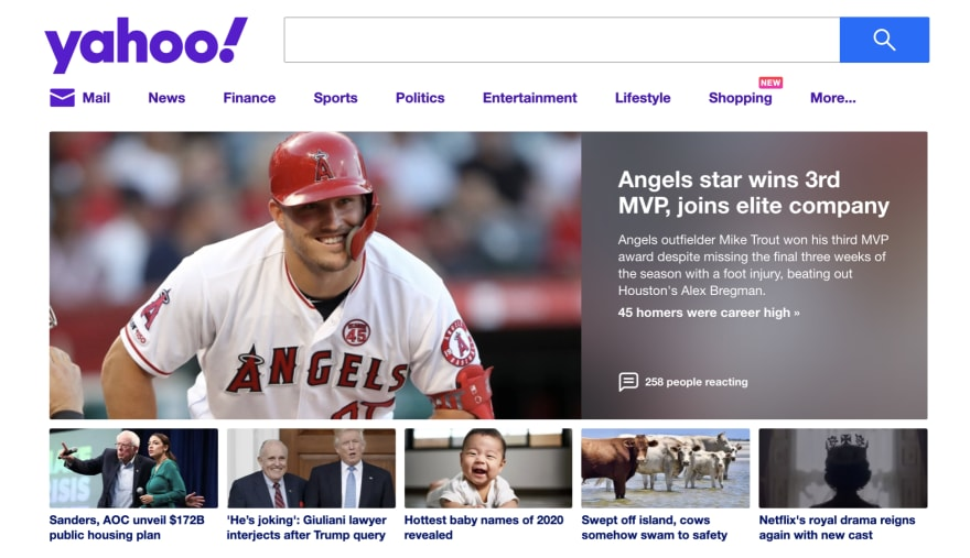 Yahoo using the frosted glass effect as backdrop upon the image (yahoo.com)