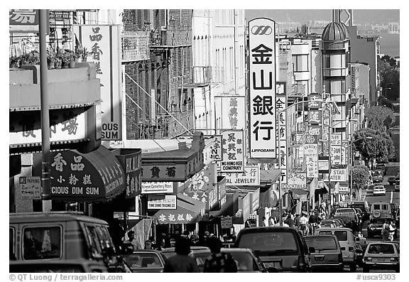 Chinatown black and white image