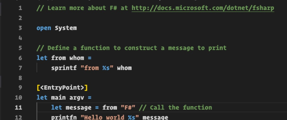 Cover image for Write your first code in F#