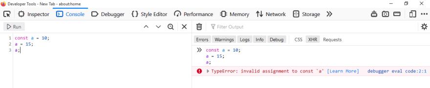 Type error shown in firefox devtools