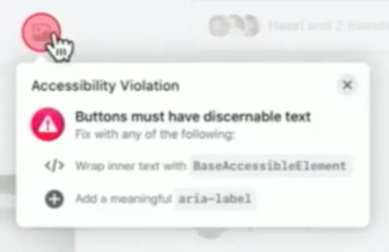 Display accessibility errors to developers while they develop