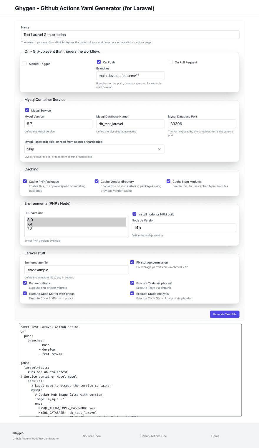 GHYGEN GitHub Actions Yaml Generator Screenshot