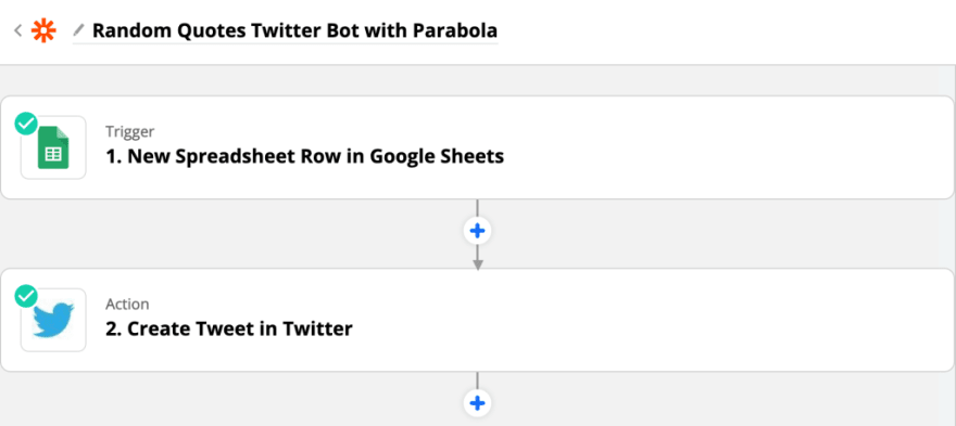 A Zapier zap to get new row data and create a tweet