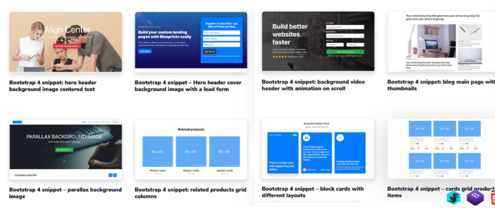 Cover image for Bootstrap 4 HTML snippets growing library