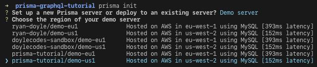 choose region for server