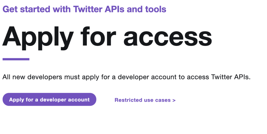 Twitter Developer Account Sign-up