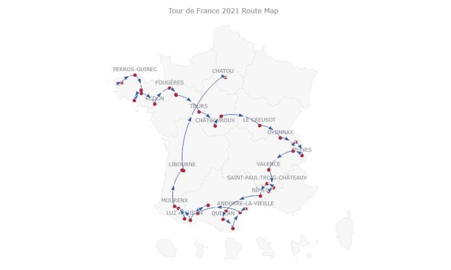 A basic JavaScript connector map visualizing the Tour de France 2021 route