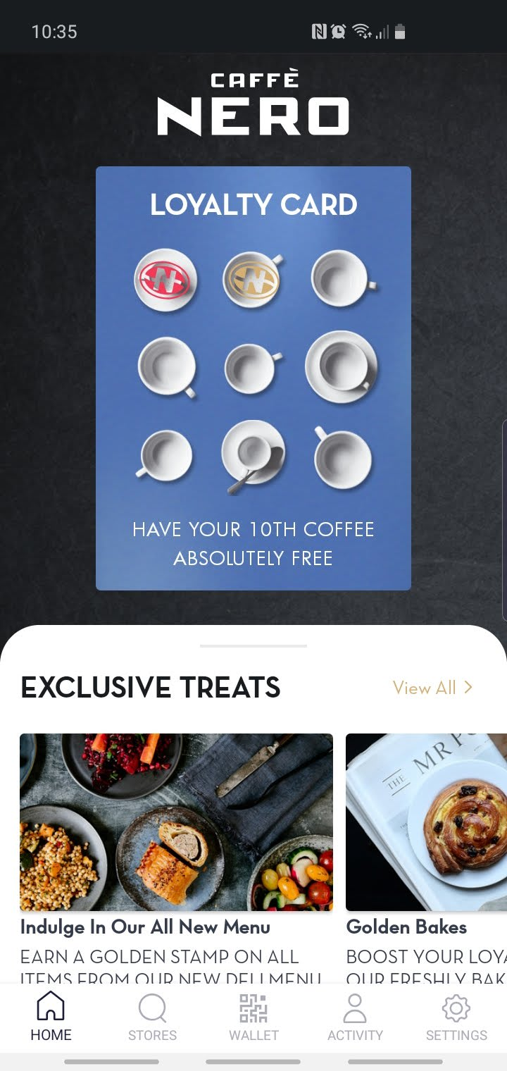 A screenshot of the latest Caffe Nero app
