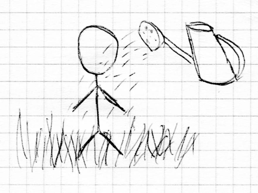 Picture of the watering can pouring a man
