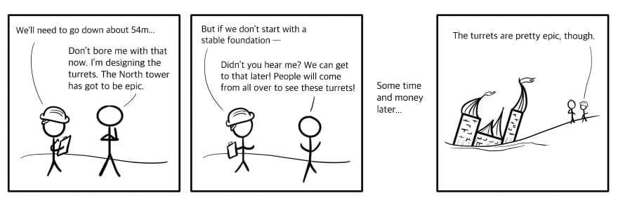 A comic I drew about building castles with poor foundations. It's not that funny.