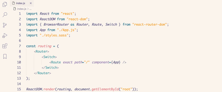 React code snippet with the Rosé Pine - Dawn theme