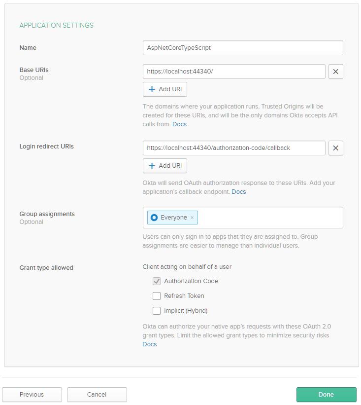 Okta Add New Application