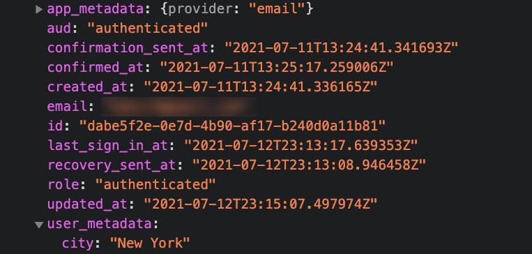 User Metadata