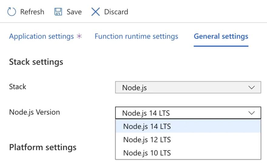 Change Node.js version in Windows Azure Functions in Portal