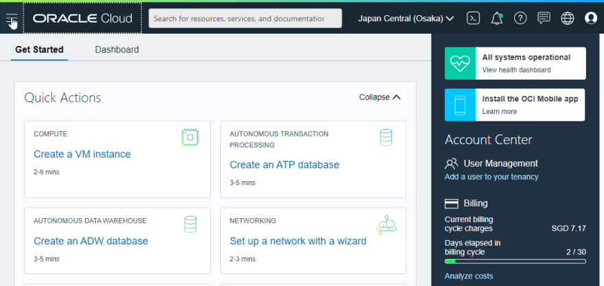 home page oracle cloud