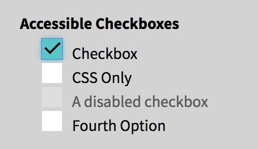 Disabled checkbox with dark grey box.