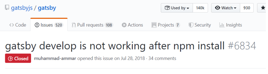 gatsby develop issue on github