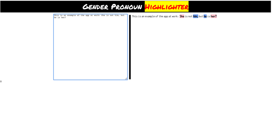 Screenshot of Gendered Pronoun Highlighter