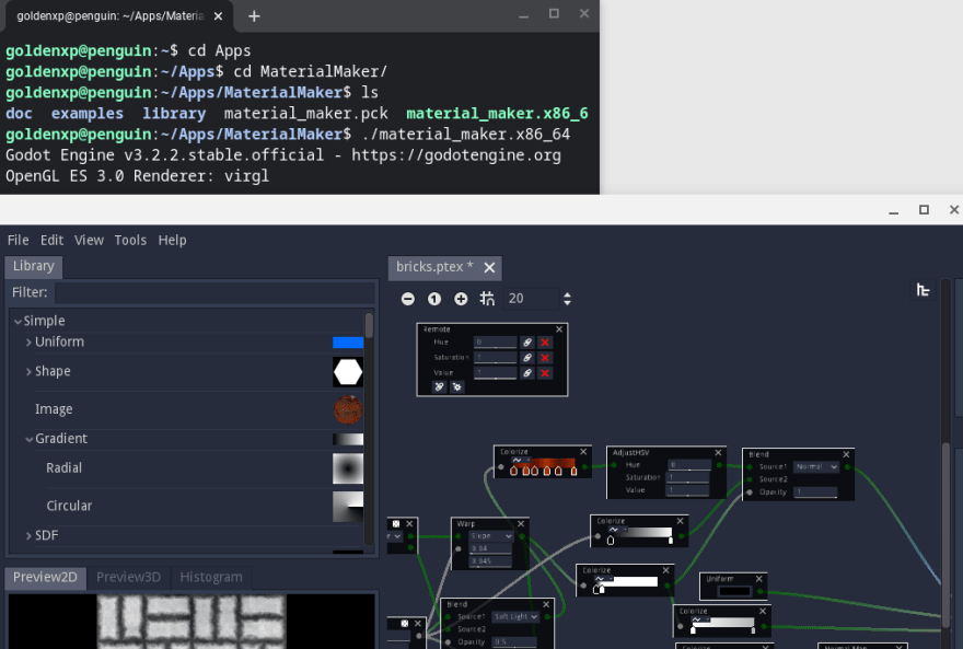 Chromebook Linux Terminal and Material Maker with a shader node graph
