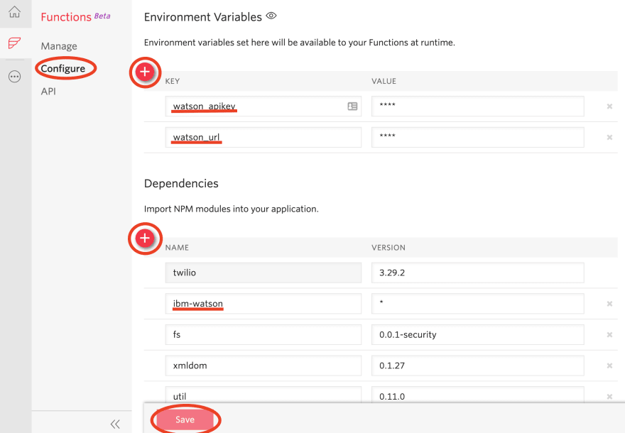 Twilio Functions environment variables