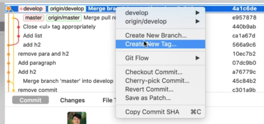 Right clicking on the commit in Git history