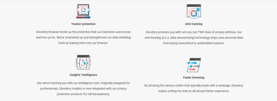 Imagem com texto explicativo sobre as funcionalidades do navegador Ghostery