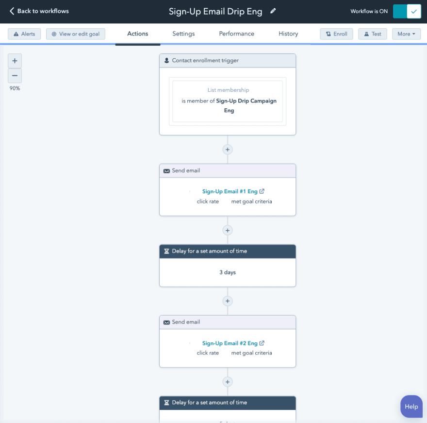 Workflow for developer sign up