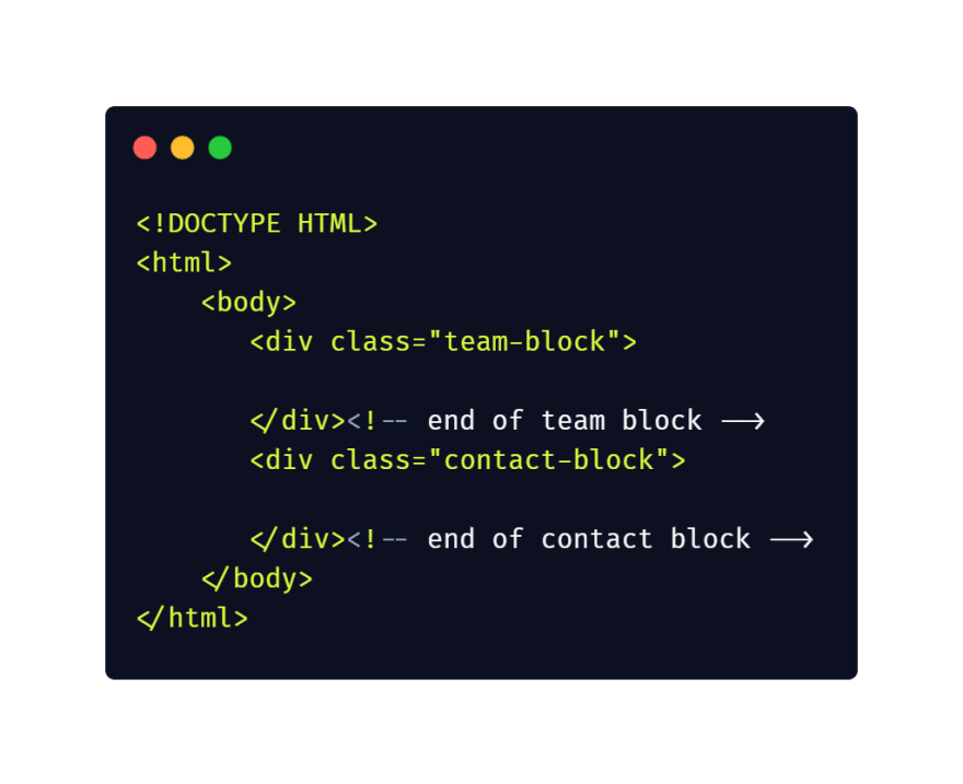 HTML5 Code Comments