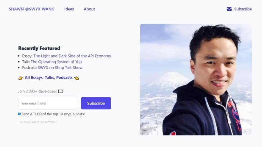 Shawn Wang's developer portfolio