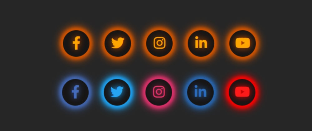 Cover image for Glowing Social Media Icons Widget using only HTML & CSS