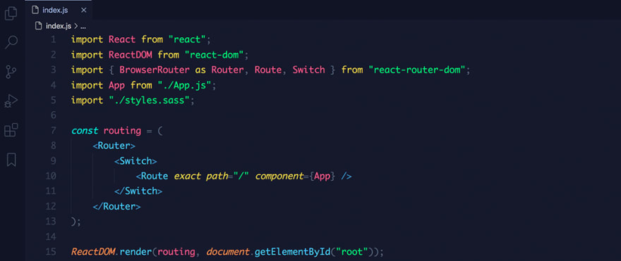 React code snippet with the Bearded - Arc Blueberry theme