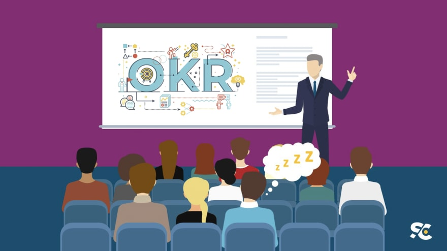 Presentation slide with the abbreviation OKR shown.