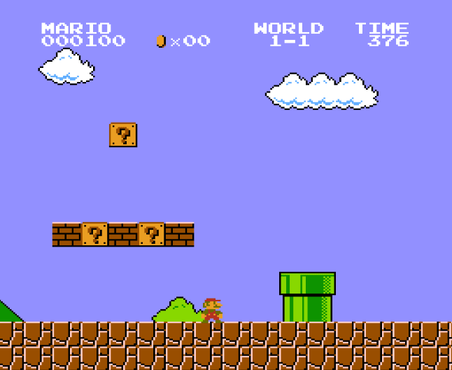 Mario image that somehow ilustrates Elixir pipes