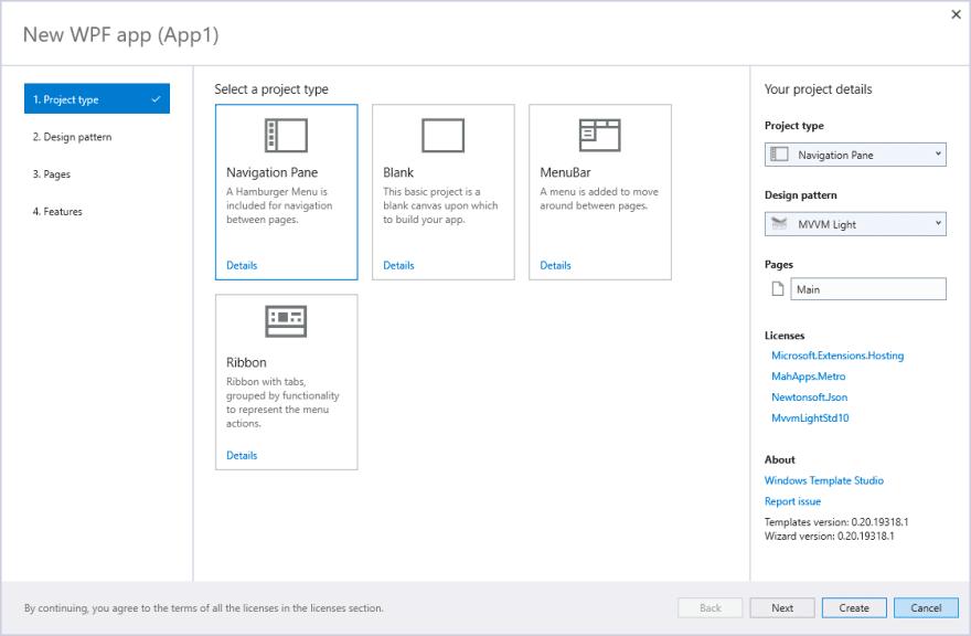 Windows Template Studio WPF screenshot