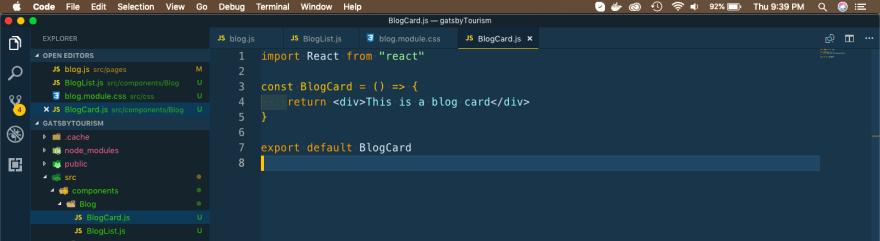 BlogCard component