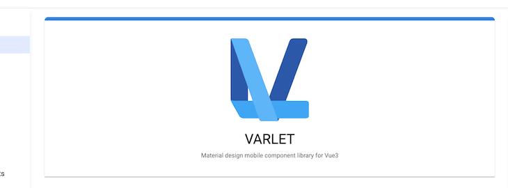 Screenshot of Varlet UI homepage