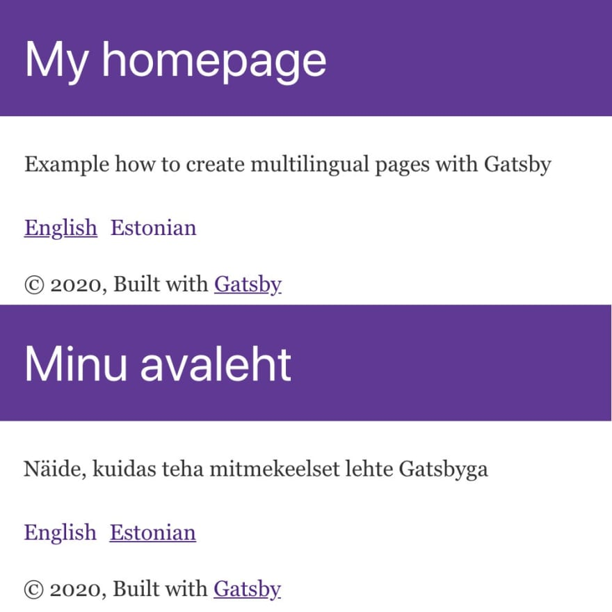 Gatsby page with English and Estonian content from WordPress