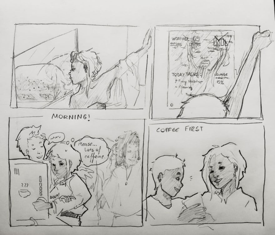 Comic strips of the story