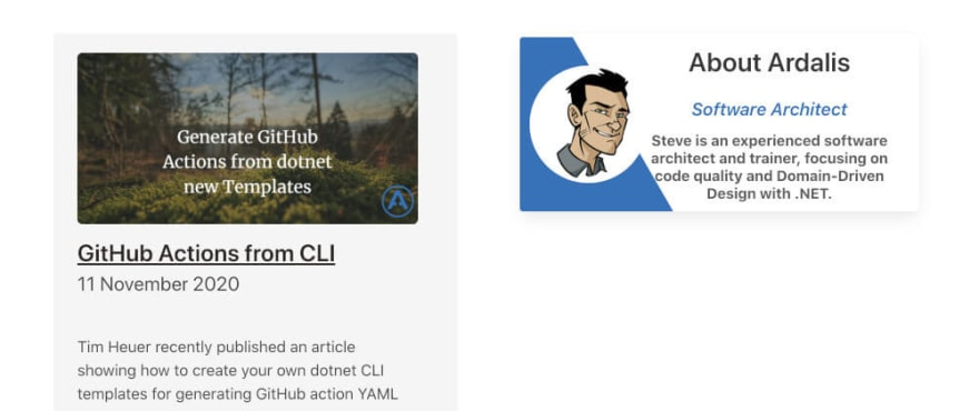 Screenshot of Ardalis: Steve Smith's Blog