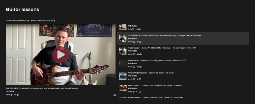 Embedded YouTube Playlists in the CG Guitar website